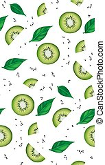 Fresh kiwi slices, leaves and seeds seamless pattern. Realistic vector illustration.