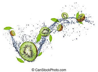 Fresh kiwi - SLices of kiwi in water splash