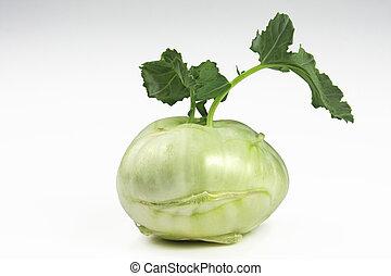 Fresh kohlrabi turnip isolated on white background