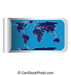 Fresh label stick with blue world map
