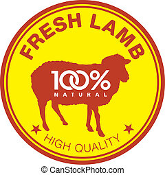 Fresh lamb label - Label with a sheep silhouette