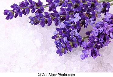 Fresh lavender and bath salt