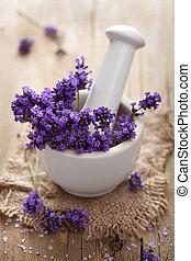 fresh lavender in mortar