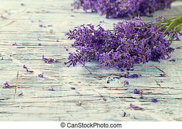 Fresh lavender on wood - Lavender blossoms on wood
