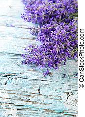 Fresh lavender on wood - Lavender blossoms on wood