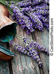 Fresh lavender over wooden background. Summer floral ...
