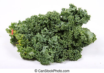 Fresh leafy kale - Fresh green leafy kale on a white ...