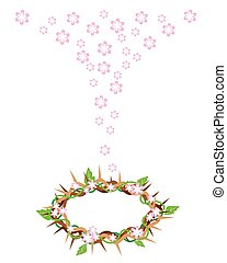Fresh Leaves Falling to A Crown of Thorns - An Illustration...