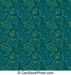 Fresh leaves seamless pattern in vector. Colorful foliage endless background.