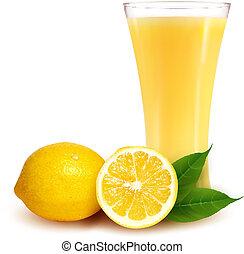 Fresh lemon and glass with juice