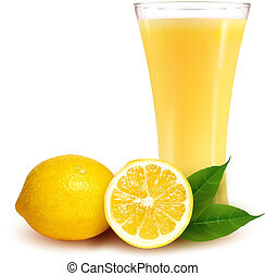 Fresh lemon and glass with juice. Vector illustration.