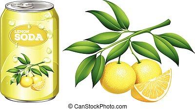 Fresh lemon and lemon soda in can