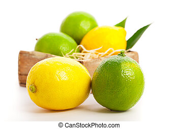 Fresh lemon and lime, Isolated on white background