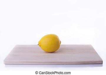 Fresh lemon fruit isolated on white background.