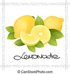 Fresh lemon fruit slice. Realistic juicy citrus with leaves vector illustration isolated