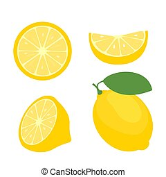 Fresh lemon fruits, collection of vector illustrations