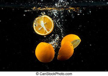fresh lemon in the water