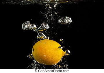 Fresh lemon in water
