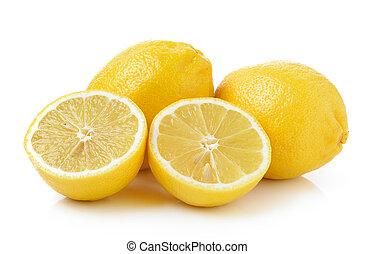 Fresh lemon isolated on a white background