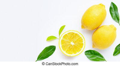 Fresh lemon isolated on white background.