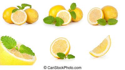 Fresh lemon isolated on white background set
