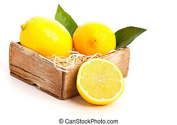 Fresh lemon, Isolated on white background