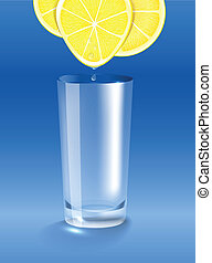 Fresh lemon juice dripping into the clean glass. Vector...