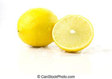 Fresh lemon, lime slice isolated on a white background
