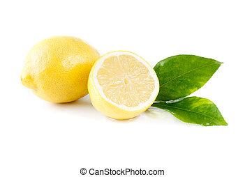 fresh lemon on white