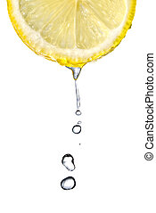 Fresh lemon slice with water drops isolated on white