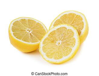 Fresh lemon slices on white background