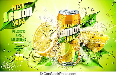 fresh lemon soda ad, with cool water flows and lemon leaf elements, 3d illustration
