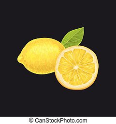 Fresh lemon, whole and cut in half sour citrus fruit vector Illustration on a black background