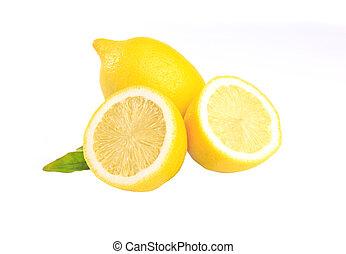 Fresh lemon with leaves isolated on white background. Amazing Benefits