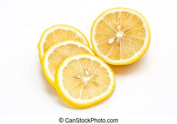 Fresh lemon with slice ,isolated on white