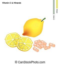 Fresh Lemon with Vitamin C on White Background