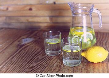 fresh Lemonade in glass lemon