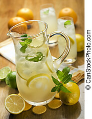 fresh lemonade with ice and mint close up