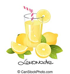 Fresh lemonade with lemon fruit slice. Realistic juicy citrus with leaves vector illustration isolated