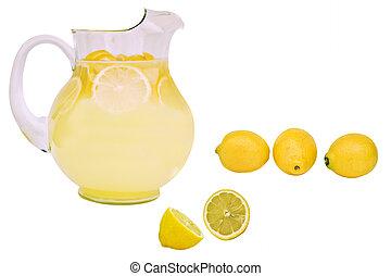 Fresh lemonade with lemons isolated on a white background.
