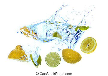 fresh lemons splash into water