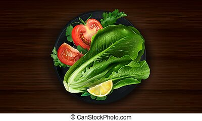 Fresh lettuce and sliced tomato with herbs.