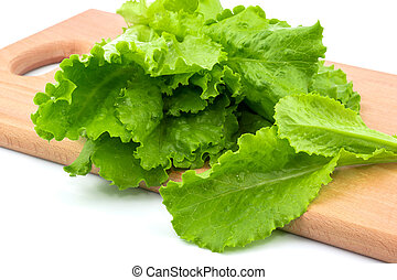 Fresh lettuce on the cutting board