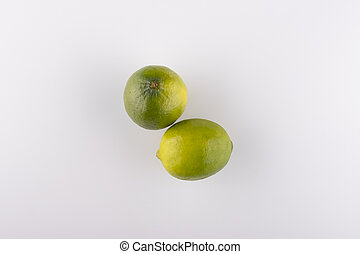 fresh lime close-up on a white background