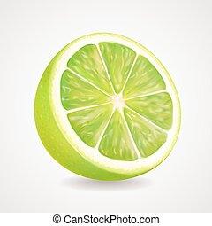 Fresh lime fruit realistic 3d illustration