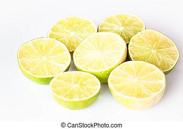 Fresh lime half portion slice on white background