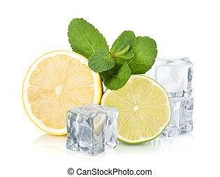Fresh lime, lemon, mint and ice cubes