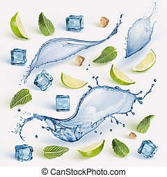 Fresh lime, mint and ice cubes.