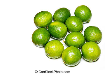 Fresh limes isolated on white.