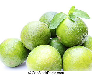 fresh limes with mint